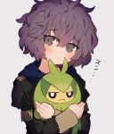 1girl bernadetta_von_varley closed_mouth company_connection crossover fire_emblem fire_emblem:_three_houses garreg_mach_monastery_uniform gen_5_pokemon grey_background grey_eyes highres holding holding_pokemon hood hood_down long_sleeves nksr_06 pokemon pokemon_(creature) purple_hair short_hair simple_background swadloon uniform upper_body