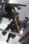 1girl 2019 3d absurdres arched_back black_hair blood bloody_weapon boots breasts brown_eyes brown_jacket cable cloak cropped_jacket dual_wielding emblem green_cloak highres holding holding_sword holding_weapon jacket jumping knee_boots knee_pads leather leather_jacket making-of_available medium_breasts mikasa_ackerman paradis_military_uniform pile_bunker rafael_benedicto rain red_scarf reverse_grip scarf shingeki_no_kyojin signature solo survey_corps_(emblem) sword three-dimensional_maneuver_gear weapon wet wet_clothes wet_hair