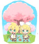 1boy 1girl :3 aqua_eyes bangs black_collar black_sleeves blonde_hair bow cherry_blossoms chibi collar commentary dango detached_sleeves food hair_bow hair_ornament hairclip kagamine_len kagamine_rin leg_warmers najo neckerchief necktie open_mouth outdoors picnic sailor_collar school_uniform shirt short_hair short_ponytail short_shorts short_sleeves shorts sitting sleeveless sleeveless_shirt smile spiky_hair swept_bangs thermos vocaloid wagashi white_bow white_shirt wrapped_obentou yellow_neckwear