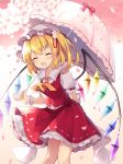 1girl :d ascot bangs blonde_hair blush closed_eyes commentary_request crystal eyebrows_visible_through_hair fang feet_out_of_frame flandre_scarlet flower frilled_shirt_collar frilled_umbrella frills hair_flower hair_ornament hat highres holding holding_umbrella medium_hair mob_cap one_side_up open_mouth petals puffy_short_sleeves puffy_sleeves red_ribbon red_skirt red_vest ribbon ruhika shirt short_sleeves skirt skirt_set smile solo standing touhou umbrella vest white_headwear white_shirt wings wrist_cuffs yellow_neckwear