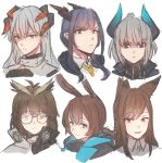 6+girls amiya_(arknights) animal_ears arknights blue_hair brown_hair ch'en_(arknights) dragon_horns fox_ears franka_(arknights) glasses grey_hair highres hinagi_(fox_priest) horns liskarm_(arknights) multiple_girls necktie owl_ears saria_(arknights) silence_(arknights)
