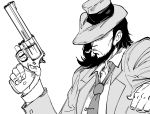 1boy bb_(baalbuddy) beard cigarette closed_mouth coat collared_shirt covered_face facial_hair facing_viewer frown greyscale gun hand_up handgun hat highres holding holding_gun holding_weapon jigen_daisuke long_sleeves lupin_iii male_focus medium_hair monochrome mouth_hold necktie open_clothes open_coat revolver shirt simple_background solo trigger_discipline upper_body weapon white_background wing_collar