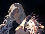 1girl black_background black_shirt bouquet flower grey_hair hand_up holding holding_bouquet kitaru_(mabo_f) long_hair long_sleeves looking_at_viewer original plant red_flower shirt simple_background smile solo wavy_hair white_flower