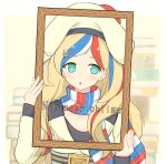 1girl absurdres beret blonde_hair blue_hair commandant_teste_(kantai_collection) double-breasted dress french_flag french_text hat highres kantai_collection long_hair looking_at_viewer multicolored multicolored_clothes multicolored_hair picture_frame plaid plaid_scarf pom_pom_(clothes) redhead scarf shonasan solo streaked_hair wavy_hair white_hair