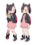 2girls asymmetrical_bangs backpack bag bangs black_hair blue_eyes brown_eyes choker cosplay gen_8_pokemon grimace mary_(pokemon) mary_(pokemon)_(cosplay) morpeko morpeko_(full) multiple_girls o_o pokemon pokemon_(creature) pokemon_(game) pokemon_swsh scared smile sweatdrop twintails uso_(ameuzaki) yuuri_(pokemon)