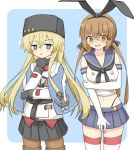 2girls absurdres anchor_hair_ornament anchor_necklace belt black_belt black_bow black_gloves black_hairband black_headwear black_neckwear black_panties black_skirt blonde_hair blue_background blue_sailor_collar blue_shawl blue_skirt boots border bow brown_eyes brown_hair brown_legwear commentary_request cosplay costume_switch crop_top elbow_gloves embarrassed fingerless_gloves gloves grey_eyes hair_bow hair_ornament hairband highleg highleg_panties highres jacket kantai_collection long_hair low_twintails microskirt miniskirt multiple_girls neckerchief panties pantyhose papakha pleated_skirt red_shirt ribbon_trim sailor_collar scarf shimakaze_(kantai_collection) shimakaze_(kantai_collection)_(cosplay) shirt shonasan skirt striped striped_legwear tashkent_(kantai_collection) tashkent_(kantai_collection)_(cosplay) thigh-highs thigh_boots torn_scarf twintails two-tone_background underwear untucked_shirt white_border white_gloves white_jacket white_scarf