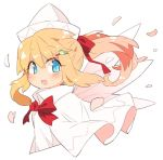 1girl bird_hair_ornament blonde_hair blue_eyes bow bowtie capelet commentary_request cropped_torso dress fairy_wings hair_ornament hair_ribbon hairclip ini_(inunabe00) lily_white long_hair looking_at_viewer open_mouth petals ponytail red_neckwear red_ribbon ribbon smile solo touhou upper_body white_background white_dress white_headwear wings