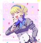 1girl blonde_hair blue_hairband closed_eyes confetti constance_von_nuvelle dated earrings fan fire_emblem fire_emblem:_three_houses garreg_mach_monastery_uniform hairband happy_birthday hiyori_(rindou66) holding jewelry long_sleeves multicolored_hair open_mouth purple_hair short_hair solo twitter_username uniform upper_body
