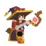 1girl 3d animated bandaged_leg bandages bare_shoulders brown_hair cape dancing dress hat holding holding_staff kono_subarashii_sekai_ni_shukufuku_wo! looking_at_viewer looping_animation lowres megumin minecraft mlkewatnot pixel_art red_dress red_eyes short_hair_with_long_locks simple_background single_thighhigh smile solo staff swaying thigh-highs white_background witch_hat