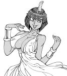 1girl bb_(baalbuddy) bob_cut bracer breasts circlet covered_nipples dark_skin dress egyptian eliza_(skullgirls) fingernails greyscale halter_dress hands_up highres large_breasts lipstick looking_at_viewer makeup monochrome short_hair simple_background skullgirls smile solo standing upper_body white_background