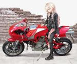 biker black_footwear black_jacket black_pants black_shirt blue_eyes braid brick_wall cevio commentary ducati exhaust_pipe ground_vehicle hair_tie handlebar highres ia_(vocaloid) jacket long_hair looking_at_object motor_vehicle on_motorcycle pants platinum_blonde_hair shirt side_braid takepon1123 twin_braids vehicle_request very_long_hair vocaloid wheel wide_shot zipper