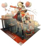 1girl ;d arknights balloon bangs black_footwear black_legwear black_skirt blonde_hair bucket bucket_of_chicken choker colonel_sanders confetti cup disposable_cup eyebrows_visible_through_hair food fried_chicken full_body hamburger hand_up hat head_tilt highres holding holding_bucket horns ifrit_(arknights) kfc kneehighs looking_at_viewer nail_polish norizc official_art one_eye_closed open_clothes open_mouth open_shirt party_hat red_choker red_eyes red_nails red_ribbon ribbon ribbon_choker shadow shirt shoes short_hair short_sleeves skirt smile solo standing stool stuffed_animal stuffed_owl stuffed_toy thigh_strap transparent_background white_shirt