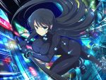 1girl ass bangs black_hair blue_eyes bodysuit breasts car closed_mouth crossover floating_hair gantz gantz_suit gloves ground_vehicle highres holding holding_weapon ikaruga_(senran_kagura) katana lamppost large_breasts long_hair motion_lines motor_vehicle neon_trim night official_art outdoors road road_sign senran_kagura senran_kagura_new_link sign skin_tight solo street sword v-shaped_eyebrows very_long_hair weapon yaegashi_nan