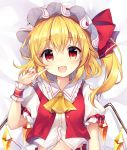 1girl bangs blonde_hair blush bow crystal dakimakura eyebrows_visible_through_hair fang flandre_scarlet frilled_shirt_collar frills hat highres index_finger_raised looking_at_viewer lying medium_hair mob_cap navel on_back one_side_up open_mouth puffy_short_sleeves puffy_sleeves red_bow red_eyes red_vest ruhika shirt short_sleeves smile solo touhou upper_body vest white_headwear white_shirt wings wrist_cuffs yellow_neckwear