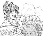 1girl :d bb_(baalbuddy) blush chicken_(food) fish folded food freckles goggles goggles_on_head greyscale handler_(monster_hunter_world) highres looking_at_viewer monochrome monster_hunter monster_hunter:_world neck_ribbon open_mouth ribbon smile solo steam