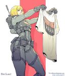 1girl abbey_road antenna_mast backpack bag bangs black_gloves blonde_hair bodysuit brand_name_imitation breastplate breasts character_name commentary commission german_text gloves holding_shirt military_operator nazi rejean_dubois shirt short_hair small_breasts solo swastika t-shirt the_beatles wolfenstein:_youngblood