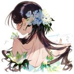 1girl bare_shoulders black_hair blue_flower cropped_torso earrings facing_away fingernails flower from_behind hair_flower hair_ornament hand_in_hair highres jewelry long_fingernails long_hair original petals shoulder_blades signature simple_background solo umishima_senbon upper_body white_background