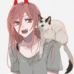 1girl cat chainsaw_man collarbone ebanoniwa eyebrows_visible_through_hair fangs grey_shirt hair_between_eyes horns long_hair on_shoulder open_mouth pink_hair power_(chainsaw_man) sharp_teeth shirt simple_background solo teeth upper_body