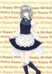 1girl apron black_footwear blue_eyes blue_legwear blue_skirt blue_vest blush bosutonii braid commentary_request curtsey english_text eyebrows_visible_through_hair feet_out_of_frame hair_between_eyes hair_ribbon happy_birthday head_tilt highres izayoi_sakuya kneehighs leg_lift light_smile looking_at_viewer maid_headdress petticoat puffy_short_sleeves puffy_sleeves ribbon shiny shiny_hair shirt short_hair short_sleeves silver_hair skirt skirt_hold solo standing standing_on_one_leg touhou tress_ribbon twin_braids vest waist_apron wall_of_text white_shirt yellow_background