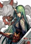 1girl arknights bangs breasts dragon_horns feng_you from_side green_hair grin hair_between_eyes highres holding holding_sword holding_weapon horn horns hoshiguma_(arknights) large_breasts long_hair long_sleeves looking_at_viewer mask oni oni_horn oni_horns shield smile standing sword very_long_hair weapon yellow_eyes