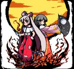 2girls adapted_costume baggy_pants bandaid bandaid_on_nose bangs black_hair blunt_bangs border bow closed_mouth collared_shirt commentary_request eyebrows_visible_through_hair fan fire folding_fan fujiwara_no_mokou full_body glove_cuffs gloves hair_bow hand_in_pocket hand_up hime_cut holding holding_fan houraisan_kaguya japanese_clothes long_hair long_skirt long_sleeves looking_at_viewer lowres moon multiple_girls ofuda ofuda_on_clothes outstretched_arm pants pink_shirt pixel_art red_eyes red_pants red_skirt sash shirt silver_hair skirt sleeves_past_wrists smile standing star star_print suspenders the_hammer_(pixiv30862105) touhou transparent_background very_long_hair white_bow white_gloves white_shirt wide_sleeves