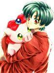 1boy blazer brown_eyes buurin_(tonde_buurin) character_doll green_hair hug jacket looking_back mizuno_kouichi school_uniform short_hair solo stuffed_toy tonde_buurin