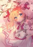 1girl blonde_hair blue_eyes blue_nails blush cherry_blossoms chikuwa_(tikuwaumai_) commentary_request dress fairy_wings hand_up hat hat_ribbon highres lily_white long_hair looking_at_viewer red_neckwear red_ribbon ribbon solo spring_(season) touhou upper_body white_dress white_headwear wide_sleeves wings