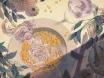 1girl absurdly_long_hair bangs closed_eyes cup flower fork grey_hair hands_up kitaru_(mabo_f) leaf long_hair minigirl original plant plate shadow solo very_long_hair yellow_flower