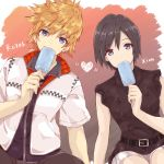 1boy 1girl bangs belt black_hair blue_eyes brown_hair character_name duffy eating eyebrows_visible_through_hair food heart highres ice_cream jacket kingdom_hearts kingdom_hearts_iii looking_at_viewer popsicle roxas short_hair sleeveless spiky_hair swept_bangs xion_(kingdom_hearts)