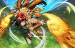 1girl air_current akali alternate_costume arm_tattoo black_hair blurry blurry_background charging_forward dagger dual_wielding eyeshadow facial_tattoo feathered_wings feathers field fringe_trim grass headdress highres holding holding_weapon incoming_attack jewelry joseph_kim league_of_legends lipstick looking_at_viewer makeup motion_blur necklace orange_eyes outdoors pendant red_lips running serious sky sleeveless tattoo tribal weapon wings wrist_wrap yellow_eyes