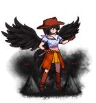 1girl antinomy_of_common_flowers bandana black_hair black_wings blue_shirt boots breasts brown_headwear brown_skirt commentary cowboy_boots cowboy_hat eyes_in_shadow feathered_wings fingerless_gloves floating full_body gloves glowing glowing_eyes hand_on_hip hand_up hat horse_girl horse_tail knee_boots kurokoma_saki lowres official_style one_eye_covered orange_skirt pixel_art puffy_short_sleeves puffy_sleeves red_eyes shadow shirt short_hair short_sleeves skirt smile solo tail the_hammer_(pixiv30862105) touhou transparent_background wings