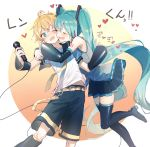 aqua_hair arms_around_neck bare_shoulders belt black_collar black_legwear black_shorts black_skirt black_sleeves blonde_hair blue_eyes blush boots cheek-to-cheek closed_eyes collar commentary detached_sleeves feet_out_of_frame grey_shirt hair_ornament hatsune_miku headphones heart highres holding holding_microphone hug kagamine_len leaning_forward leg_up leg_warmers long_hair microphone necktie one_eye_closed sailor_collar school_uniform shirt short_sleeves shorts shoulder_tattoo skirt sleeveless sleeveless_shirt tattoo thigh-highs thigh_boots translated twintails very_long_hair vocaloid white_shirt yellow_neckwear zamt_02 zettai_ryouiki