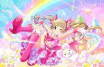 blush brown_eyes brown_hair dress idolmaster_cinderella_girls_starlight_stage long_hair rainbow smile twintails wink yokoyama_chika