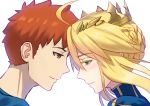 1boy 1girl ahoge artoria_pendragon_(all) artoria_pendragon_(lancer) blonde_hair blue_shirt braid brown_eyes colored_eyelashes crown emiya_shirou fate/stay_night fate_(series) fateline_alpha forehead-to-forehead french_braid from_side green_eyes hair_between_eyes highres redhead shirt smile upper_body white_background