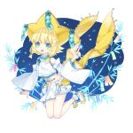 1girl blonde_hair blue_nails blush detached_sleeves eyebrows_visible_through_hair facial_mark green_eyes highres jirachi looking_at_viewer merlusa navel open_mouth personification pokemon short_hair smile socks solo star star-shaped_pupils symbol-shaped_pupils thick_eyebrows upper_teeth white_legwear yellow_footwear