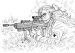 1girl assault_rifle bb_(baalbuddy) bullpup closed_mouth earphones earrings fingerless_gloves freckles from_side glasses gloves greyscale gun highres holding holding_gun holding_weapon jacket jewelry l85 long_sleeves lying microphone monochrome on_stomach original parted_lips pointy_ears ponytail rifle round_eyewear sniper sniper_rifle solo weapon