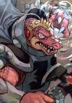 1boy axe crocodile crocodilian crocodine dragon_quest dragon_quest_dai_no_daibouken hankuri holding holding_axe monster pink_skin scar sharp_teeth solo teeth