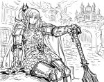 1girl :< arm_support armor bangs bb_(baalbuddy) blunt_bangs breastplate cape castle chainmail closed_mouth faulds full_armor gauntlets greaves greyscale hand_on_hilt highres knight looking_at_viewer mace medium_hair mole mole_under_mouth monochrome original planted_weapon ponytail shoulder_armor sitting solo spaulders unfinished_background weapon