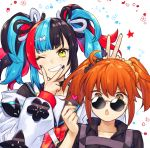 2girls ahoge alternate_hairstyle double_v fate/grand_order fate_(series) fujimaru_ritsuka_(female) grin heart multicolored_hair multiple_girls one_eye_closed orange_eyes orange_hair scrunchie sei_shounagon_(fate) smile somemiya_suzume sunglasses twintails v yellow_eyes