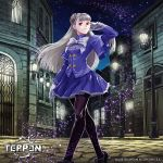 1girl albino capcom_fighting_jam city commentary_request dress fake_screenshot frilled_skirt frills gloves hairpods hinata_gureko ingrid lamppost mary_janes night night_sky pantyhose purple_dress purple_legwear red_eyes ribbon shoes skirt sky solo sparkle teppen white_gloves white_hair white_ribbon