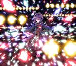 1girl abstract abstract_background attack black_hairband blue_shirt breasts closed_mouth collar collared_shirt danmaku eyeball eyebrows_visible_through_hair flower frilled_sleeves frills full_body hair_ornament hairband heart heart_hair_ornament highres komeiji_satori long_sleeves looking_at_viewer one_eye_closed pink_eyes pink_footwear pink_skirt purple_hair red_string ribbon ribbon-trimmed_collar ribbon_trim rose shirt short_hair skirt slippers small_breasts smile solo spell_card string sunyup third_eye touhou wavy_hair wide_sleeves