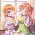 2girls ^_^ ^o^ apron artist_name blush breasts brown_hair cake closed_eyes collarbone collared_shirt couch eyebrows_visible_through_hair food fork gochuumon_wa_usagi_desu_ka? green_apron hair_ornament hairclip holding holding_fork holding_plate hoto_cocoa hoto_mocha long_hair medium_breasts mozukun43 multiple_girls one_eye_closed open_mouth plate redhead shirt short_hair short_sleeves sitting slice_of_cake small_breasts smile twitter_username violet_eyes white_shirt window