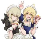 2girls :0 alternate_costume antenna_hair apron artoria_pendragon_(all) bangs black_bow blush bow breasts collarbone commentary_request crepe detached_collar enmaided eyebrows_visible_through_hair fate/grand_order fate/stay_night fate_(series) finger_licking food frill_trim fruit fujitaka_nasu grey_hair hair_between_eyes hair_bow headdress licking looking_at_viewer maid maid_apron maid_headdress multiple_girls saber saber_alter short_sleeves sidelocks simple_background small_breasts smile strawberry v white_background wrist_cuffs yellow_eyes