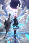 1girl armor armored_dress aura bare_shoulders black_gloves blue_sky boots clouds cloudy_sky fate/grand_order fate_(series) from_behind gloves high_heel_boots high_heels highres holding_shield kdm_(ke_dama) lavender_hair mash_kyrielight pink_hair reflection shield shirt short_hair singularity sky skyline sleeveless sleeveless_shirt thigh-highs thigh_strap walking water