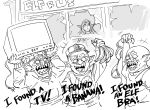 +++ 1girl 3boys :d banana bb_(baalbuddy) broken_window commentary elf english_commentary english_text food fruit goblin greyscale highres long_hair monochrome multiple_boys open_mouth original pointy_ears rioting sharp_teeth smile teeth television