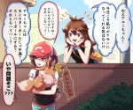 akihorisu animal ayumi_(pokemon) backpack bag baseball_cap black_dress blouse blue_(pokemon) brick_wall brown_bag brown_hair bush city dress eevee handbag hat head_in_hand holding holding_animal long_hair pink_bag ponytail red_headwear shirt short_sleeves sleeveless sleeveless_dress sweatdrop wavy_hair white_shirt yuri