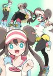 +_+ 1girl black_legwear blue_eyes blush bow breasts brown_hair chorimokki double_bun hat large_breasts legwear_under_shorts long_hair looking_at_viewer mei_(pokemon) multiple_views open_mouth pantyhose pink_bow pokemon pokemon_(game) pokemon_bw2 raglan_sleeves shirt shoes short_shorts shorts simple_background smile sneakers tagme twintails very_long_hair visor_cap yellow_shorts