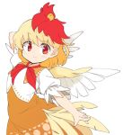 1girl animal_on_head arm_up bird bird_on_head blonde_hair chick commentary_request dress feathered_wings ini_(inunabe00) looking_at_viewer multicolored_hair niwatari_kutaka on_head orange_dress outstretched_arm red_eyes red_neckwear redhead short_hair short_sleeves simple_background smile solo tail_feathers touhou upper_body white_background wings
