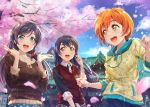 3girls artist_name bangs blue_hair cherry_blossoms commentary_request green_eyes hair_between_eyes highres hoshizora_rin lily_white_(love_live!) long_hair looking_at_another love_live! love_live!_school_idol_project low_twintails multiple_girls open_mouth orange_hair purple_hair scrunchie shamakho short_hair shrine signature sonoda_umi standing toujou_nozomi twintails yellow_eyes