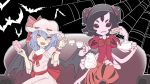 2girls bat bat_wings black_background black_hair blue_eyes couch crossover cup doughnut extra_arms extra_eyes fangs food hair_between_eyes hat highres insect_girl kawayabug mob_cap muffet multiple_girls on_couch pink_shirt puffy_short_sleeves puffy_shorts puffy_sleeves red_eyes red_neckwear red_shirt remilia_scarlet shirt short_hair short_sleeves shorts silk sitting spider_girl spider_web spider_web_print teacup teapot touhou undertale wings
